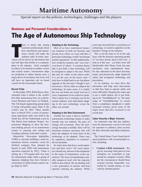 Maritime Reporter Magazine, page 54,  Feb 2020