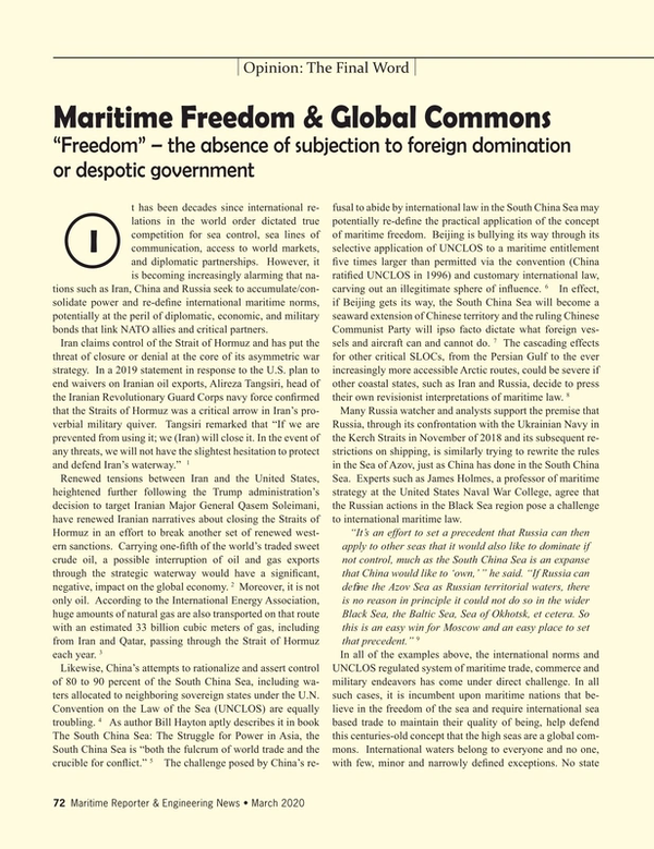 Maritime Reporter Magazine, page 72,  Mar 2020