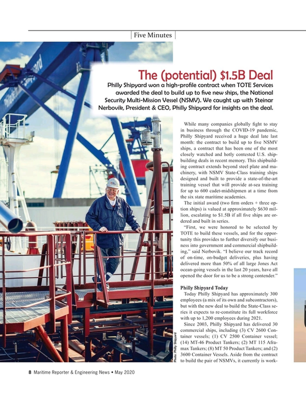 Maritime Reporter Magazine, page 8,  May 2020