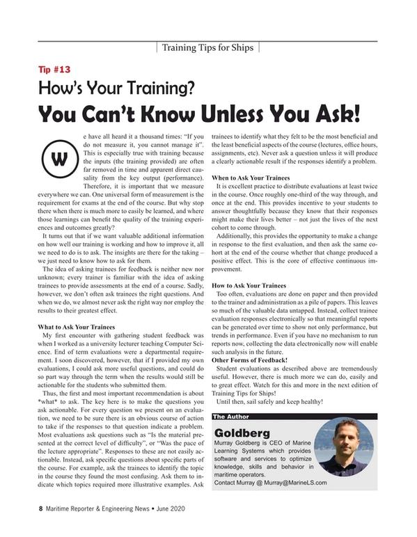 Maritime Reporter Magazine, page 8,  Jun 2020