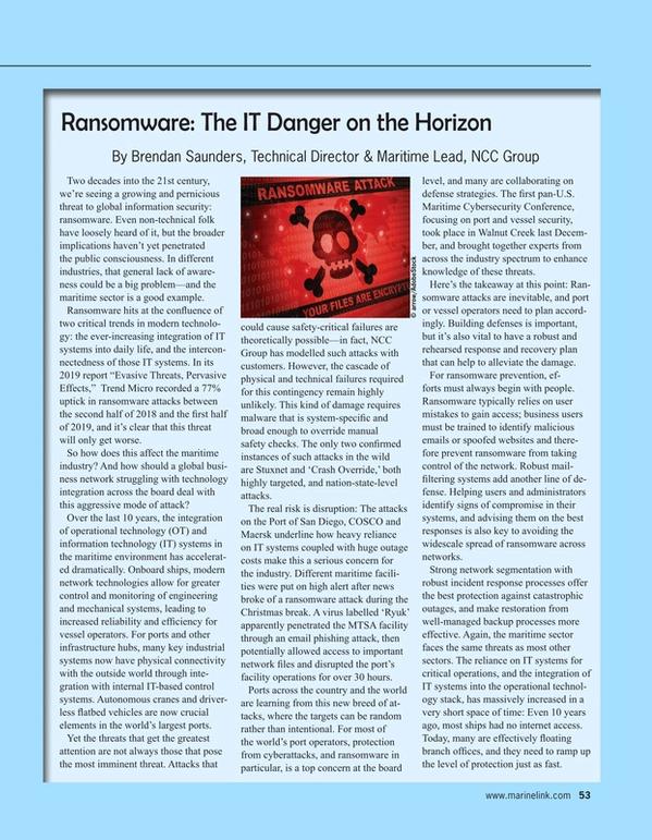 Maritime Reporter Magazine, page 53,  Jun 2020