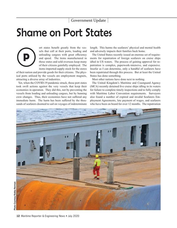Maritime Reporter Magazine, page 12,  Jul 2020