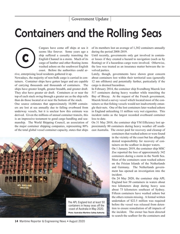 Maritime Reporter Magazine, page 14,  Aug 2020