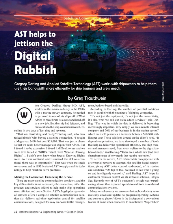 Maritime Reporter Magazine, page 16,  Oct 2020