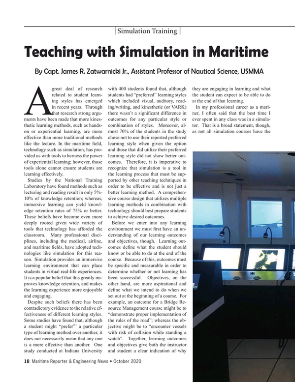 Maritime Reporter Magazine, page 18,  Oct 2020