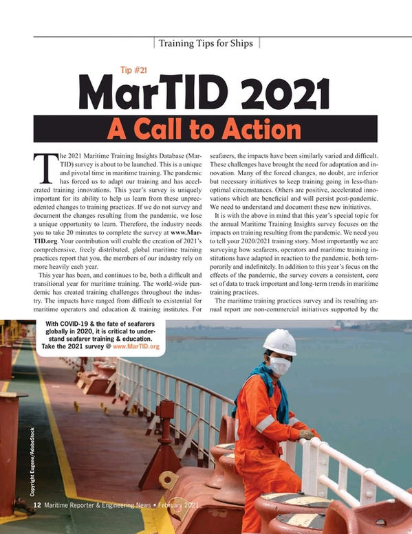 Maritime Reporter Magazine, page 12,  Feb 2021