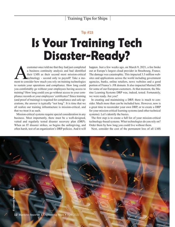 Maritime Reporter Magazine, page 12,  Apr 2021