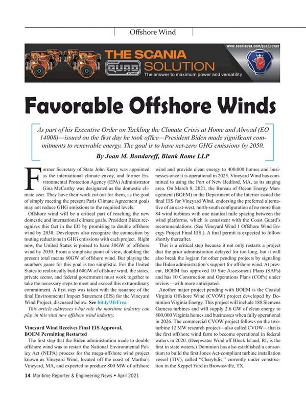 Maritime Reporter Magazine, page 14,  Apr 2021