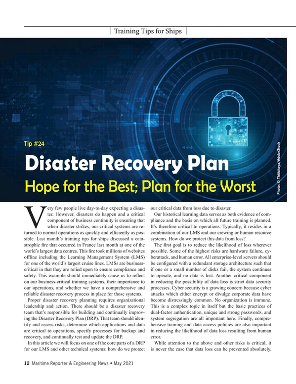 Maritime Reporter Magazine, page 12,  May 2021