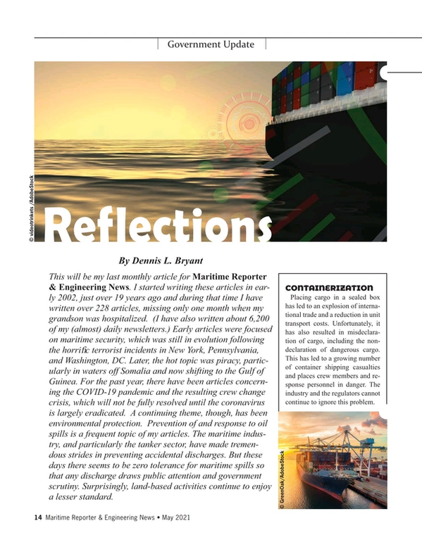 Maritime Reporter Magazine, page 14,  May 2021