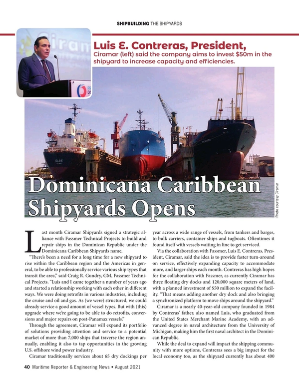 Maritime Reporter Magazine, page 40,  Aug 2021