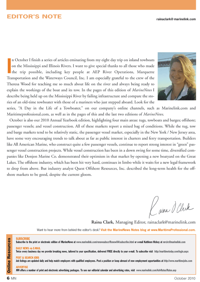 Marine News Magazine, page 6,  Oct 2010 New Jersey