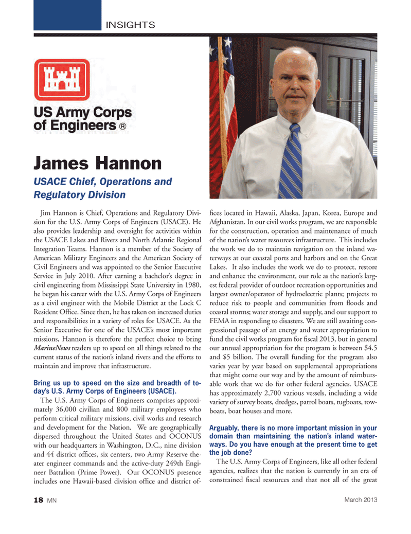 Marine News Magazine, page 18,  Mar 2013 INSIGHTSJames HannonUSACE Chief, Operations and Regulatory Division