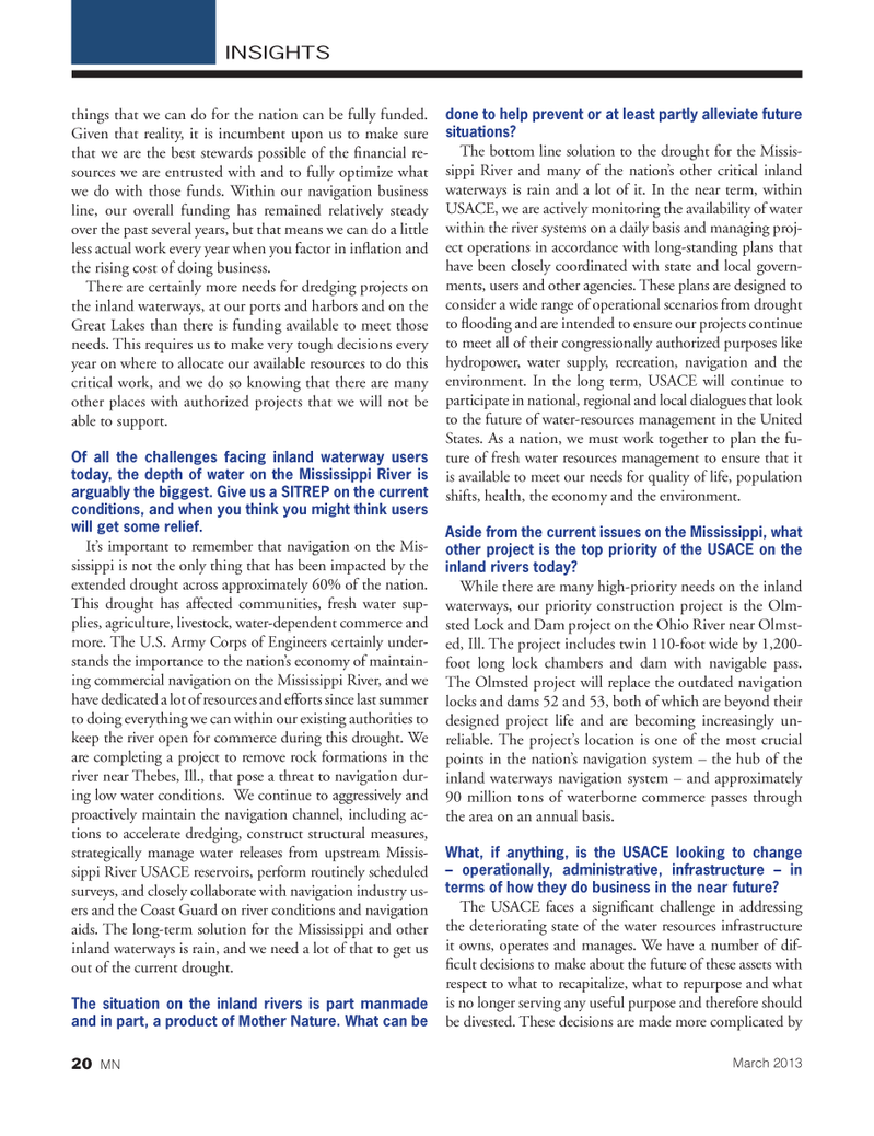 Marine News Magazine, page 20,  Mar 2013 River USACE