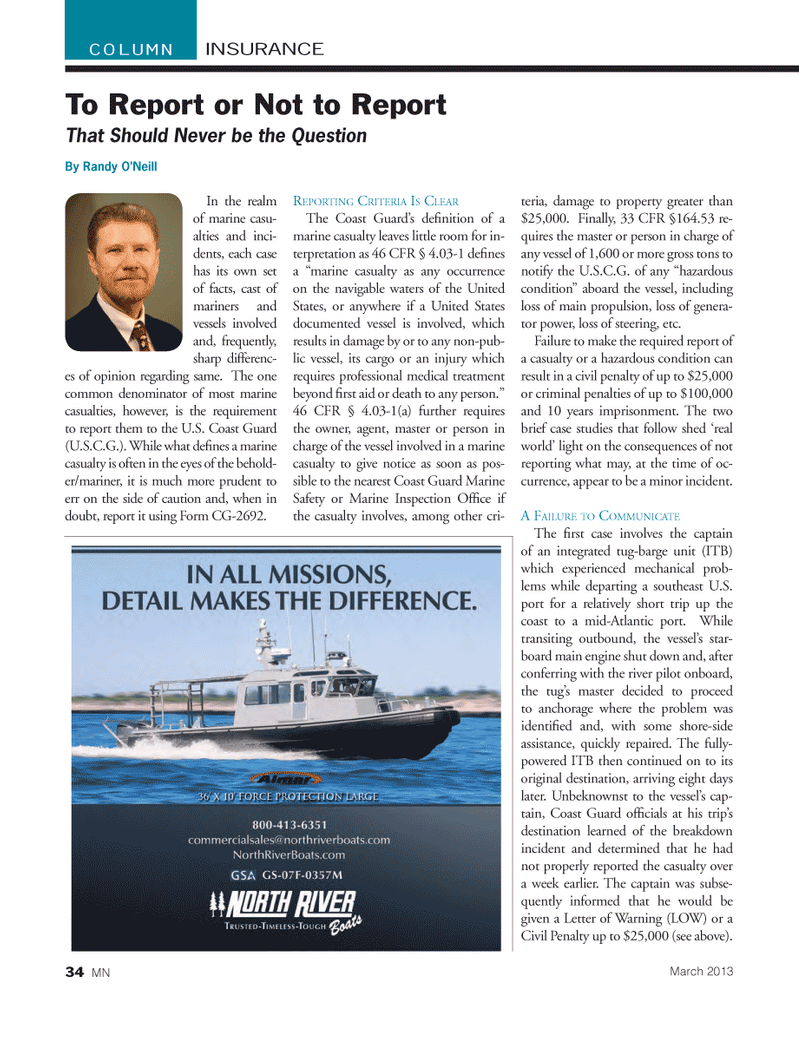 Marine News Magazine, page 34,  Mar 2013 Southeast US