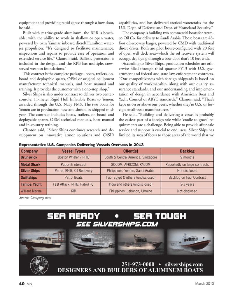Marine News Magazine, page 40,  Mar 2013 SEA TOUGHSEE SILVERSHIPS.COM