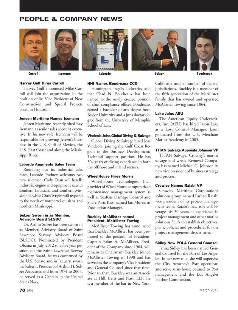 Marine News Magazine, page 70,  Mar 2013 northern Mississippi