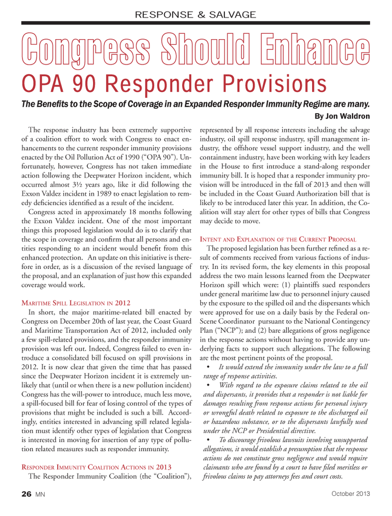 Marine News Magazine, page 26,  Oct 2013 RESPONDER IMMUNITY COALITION ACTIONS IN 2013The Responder Immunity Coalition