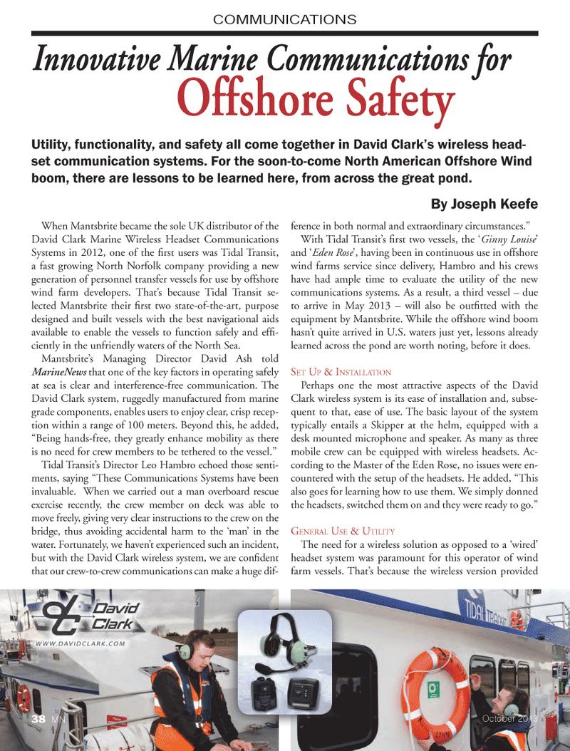 Marine News Magazine, page 38,  Oct 2013 communications systems