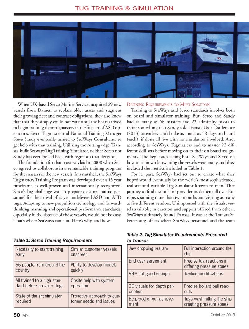 Marine News Magazine, page 50,  Oct 2013 United Kingdom