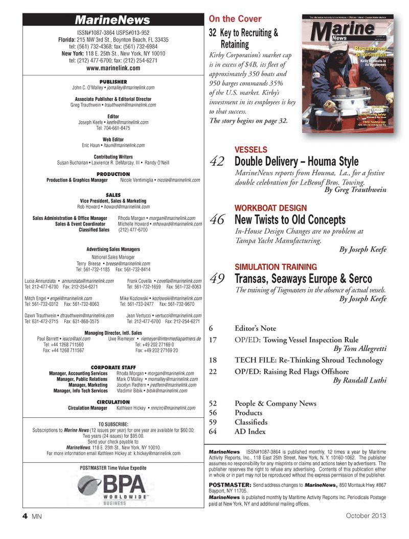 Marine News Magazine, page 4,  Oct 2013 Nicole Ventimiglia