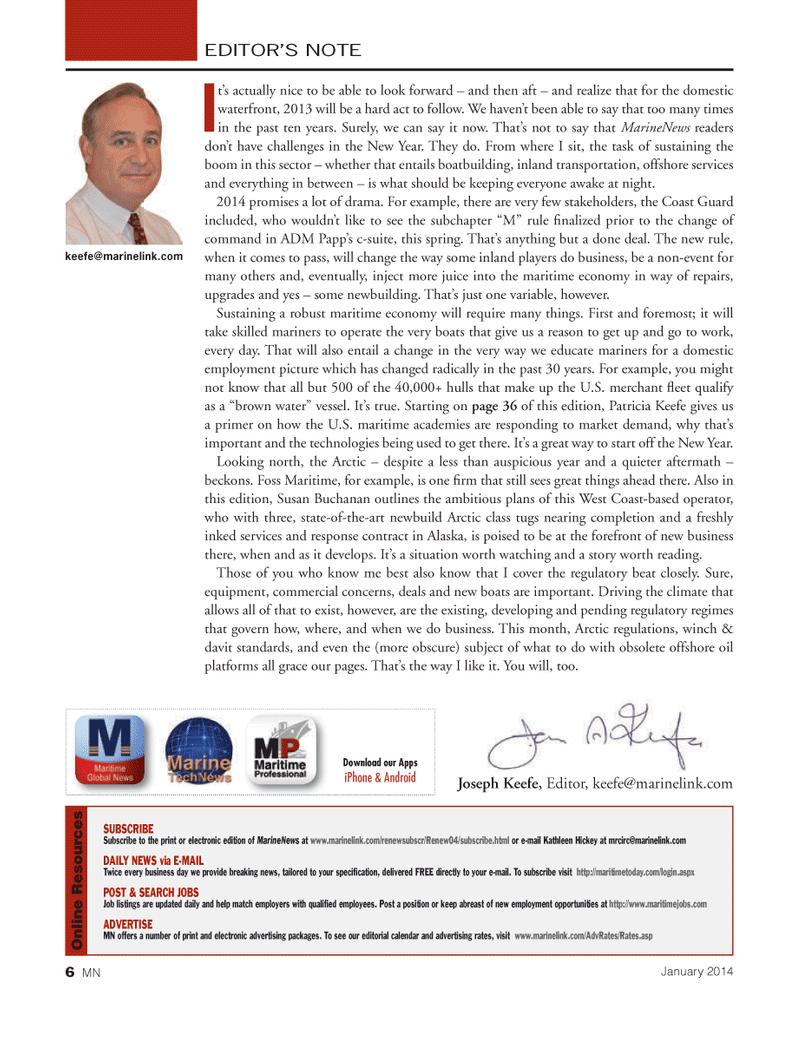 Marine News Magazine, page 6,  Jan 2014