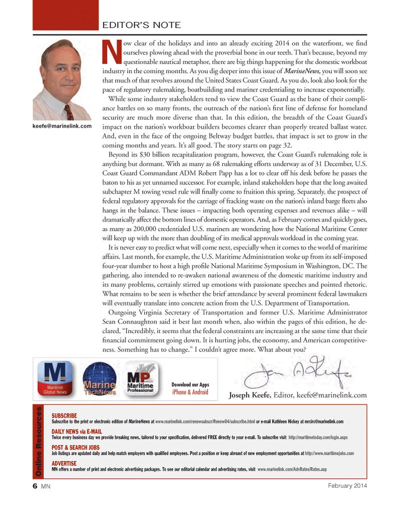 Marine News Magazine, page 6,  Feb 2014 Keefe