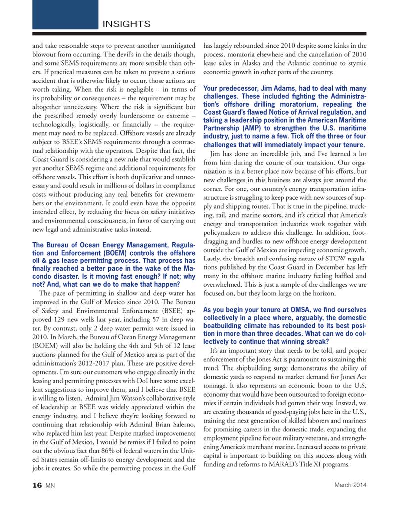 Marine News Magazine, page 16,  Mar 2014 Bureau of Safety and Environmental Enforcement