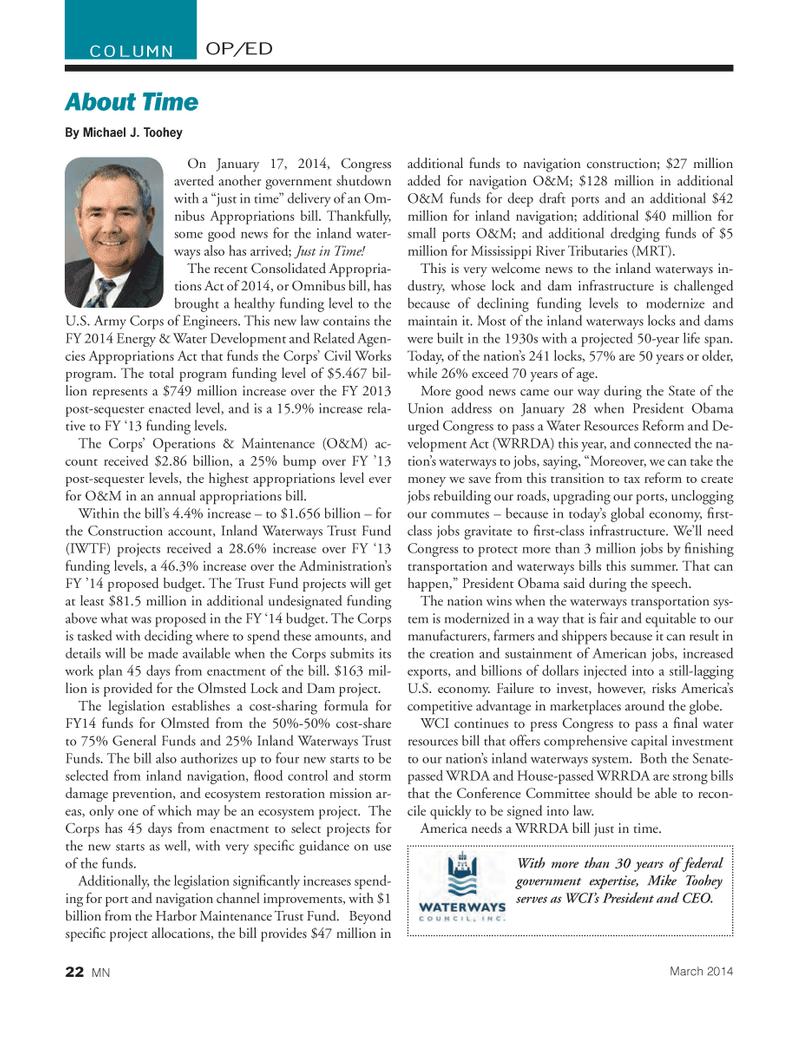 Marine News Magazine, page 22,  Mar 2014 Michael J. Toohey