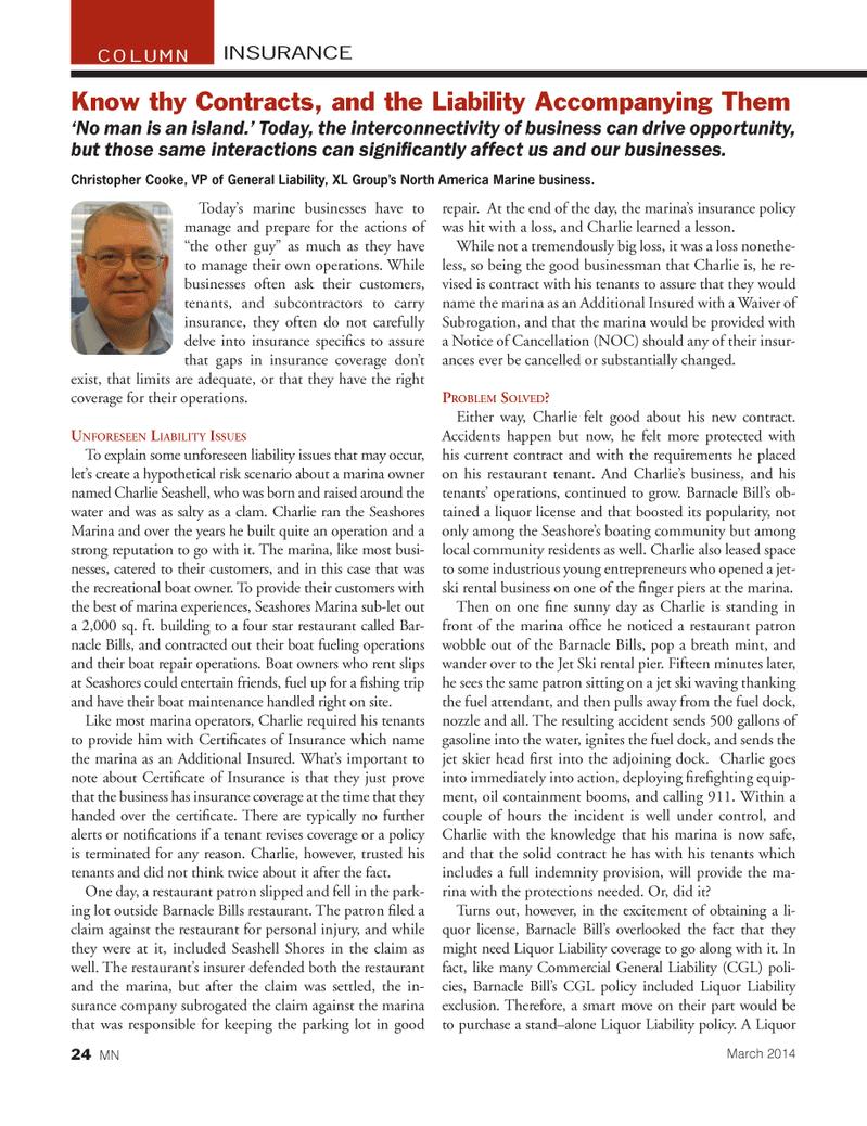 Marine News Magazine, page 24,  Mar 2014 insurance policy
