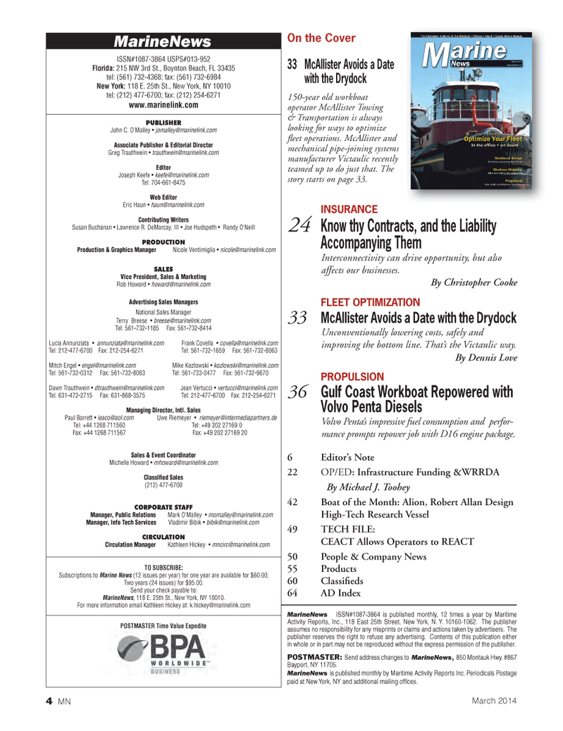 Marine News Magazine, page 4,  Mar 2014 Frank Covella