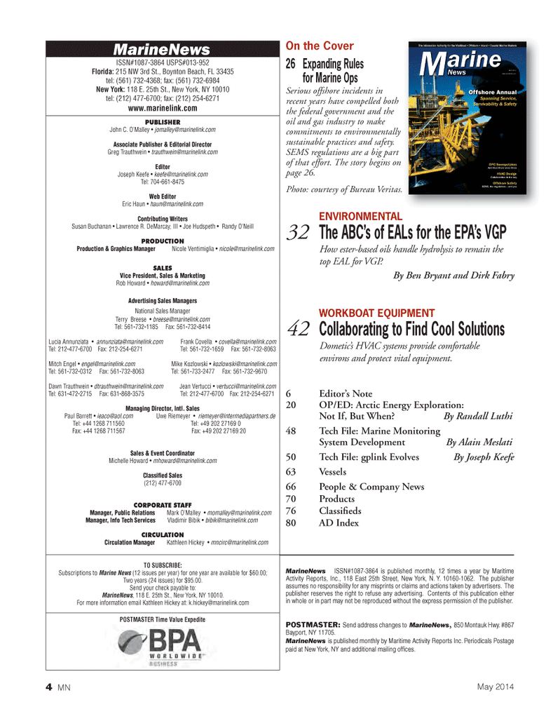 Marine News Magazine, page 4,  May 2014