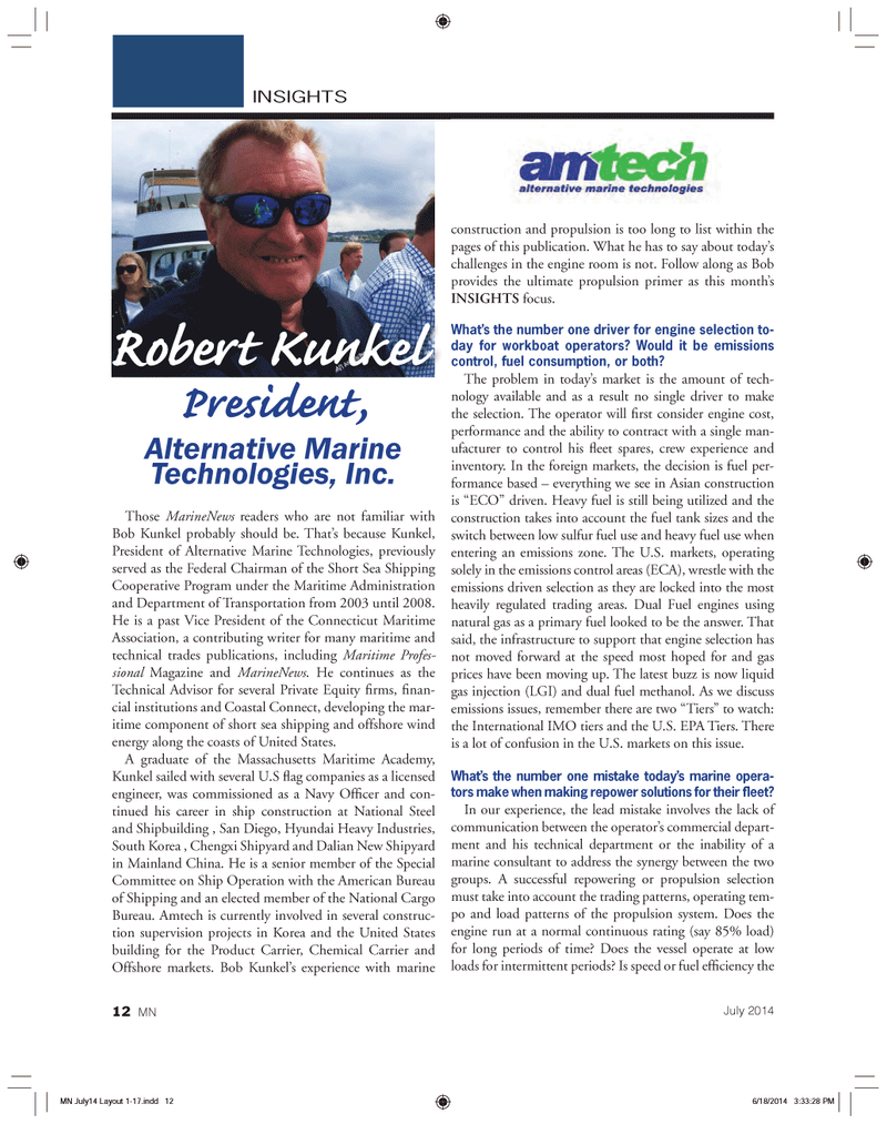 Marine News Magazine, page 12,  Jul 2014 Connecticut Maritime Association