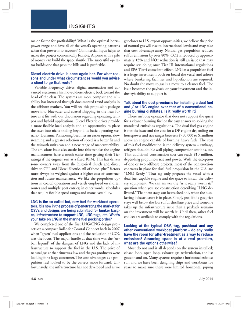 Marine News Magazine, page 14,  Jul 2014 hybrid applications