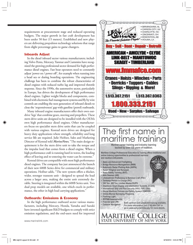 Marine News Magazine, page 41,  Jul 2014 electronic fuel management systems