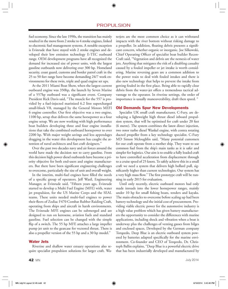 Marine News Magazine, page 42,  Jul 2014 Jeff Wasil