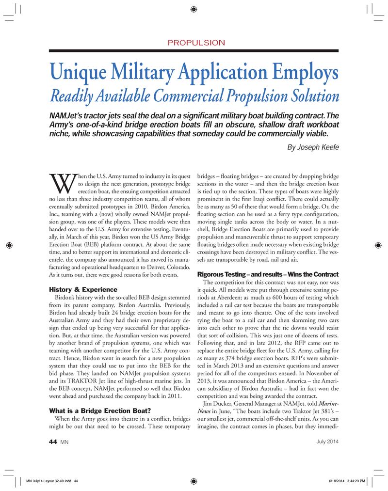 Marine News Magazine, page 44,  Jul 2014 Jim Ducker