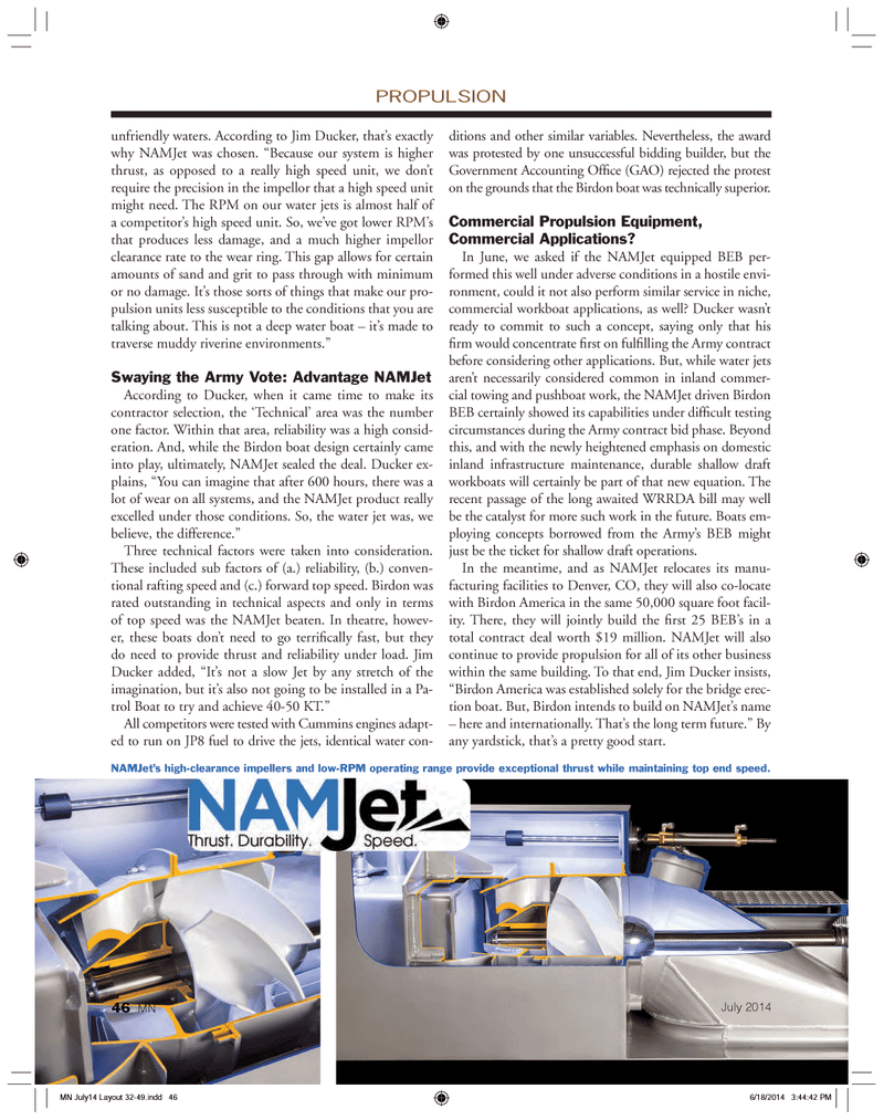 Marine News Magazine, page 46,  Jul 2014 unsuccessful bidding builder