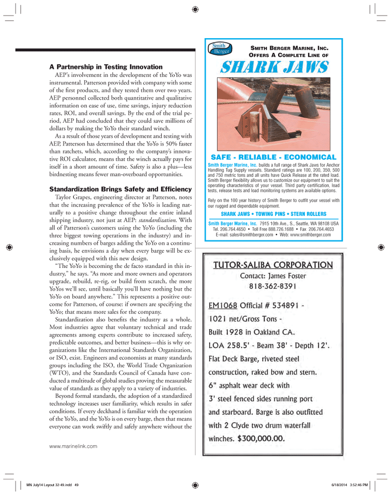 Marine News Magazine, page 49,  Jul 2014 Standards Council of Canada