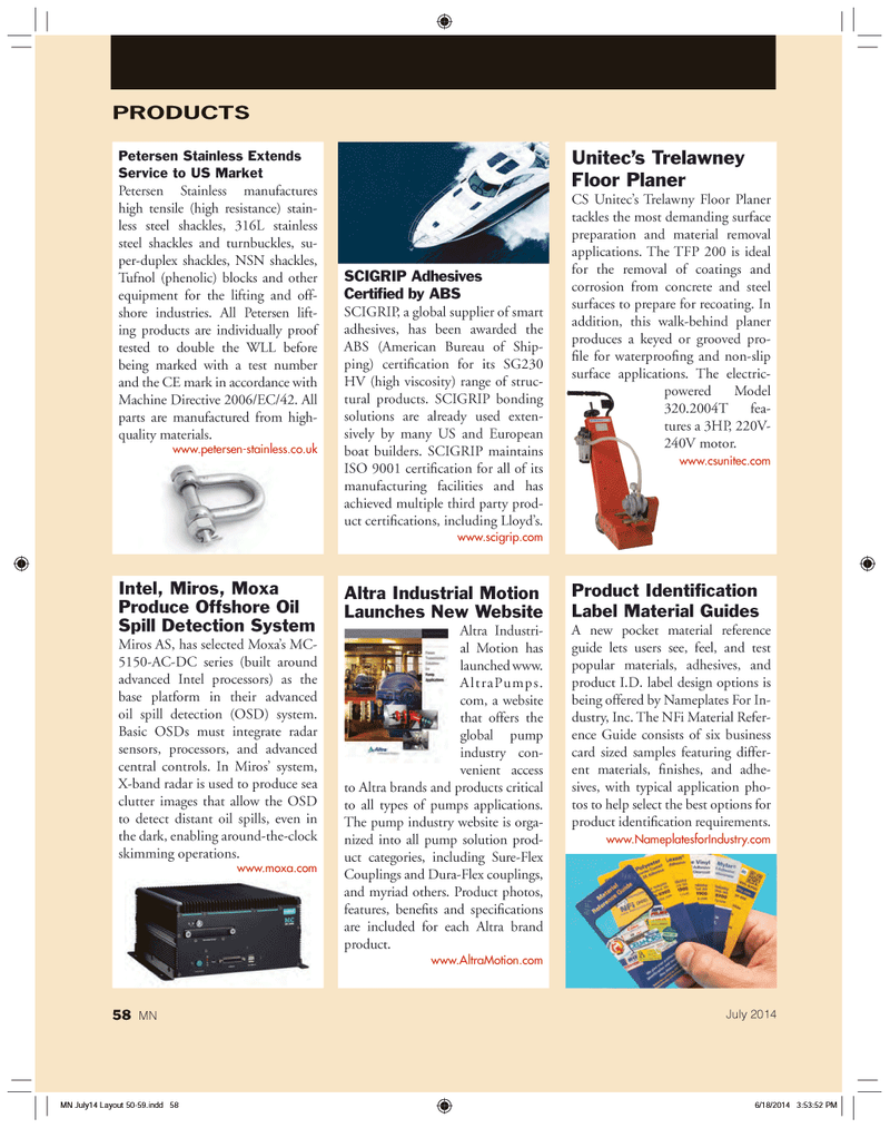 Marine News Magazine, page 58,  Jul 2014 316L stainless steel shackles