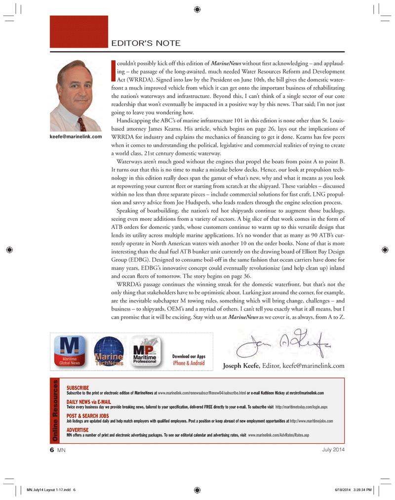 Marine News Magazine, page 6,  Jul 2014 Z. keefe