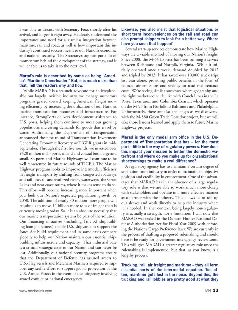 Marine News Magazine, page 13,  Oct 2014