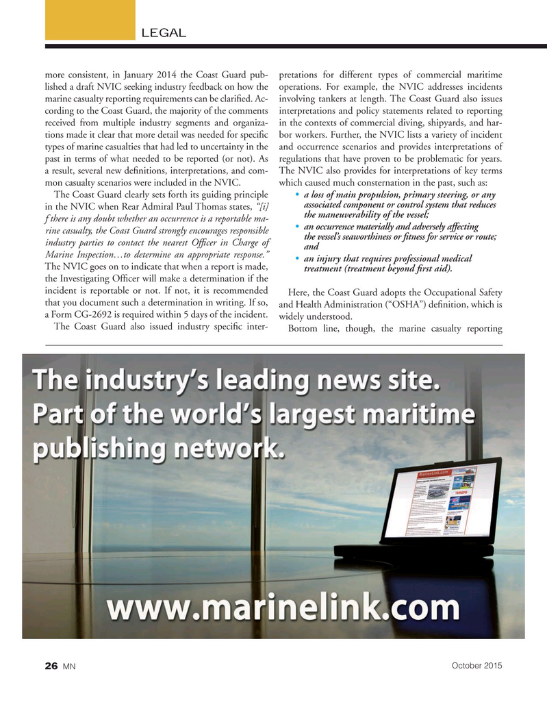 Marine News Magazine, page 26,  Oct 2015
