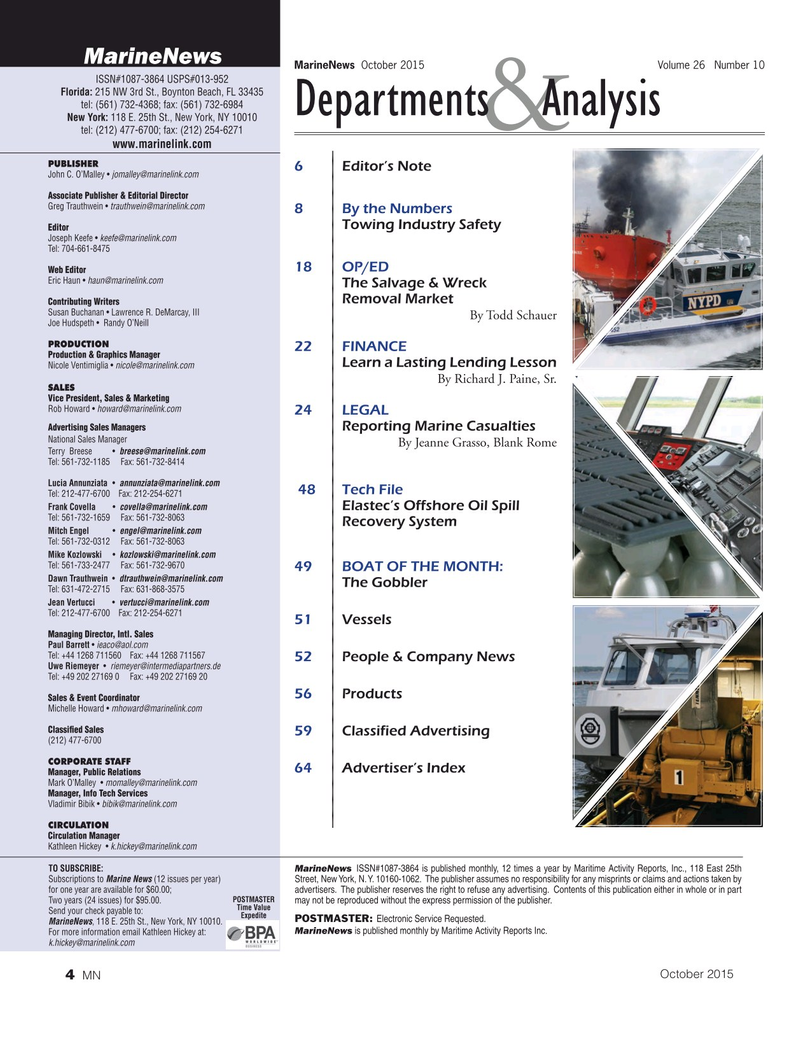 Marine News Magazine, page 4,  Oct 2015