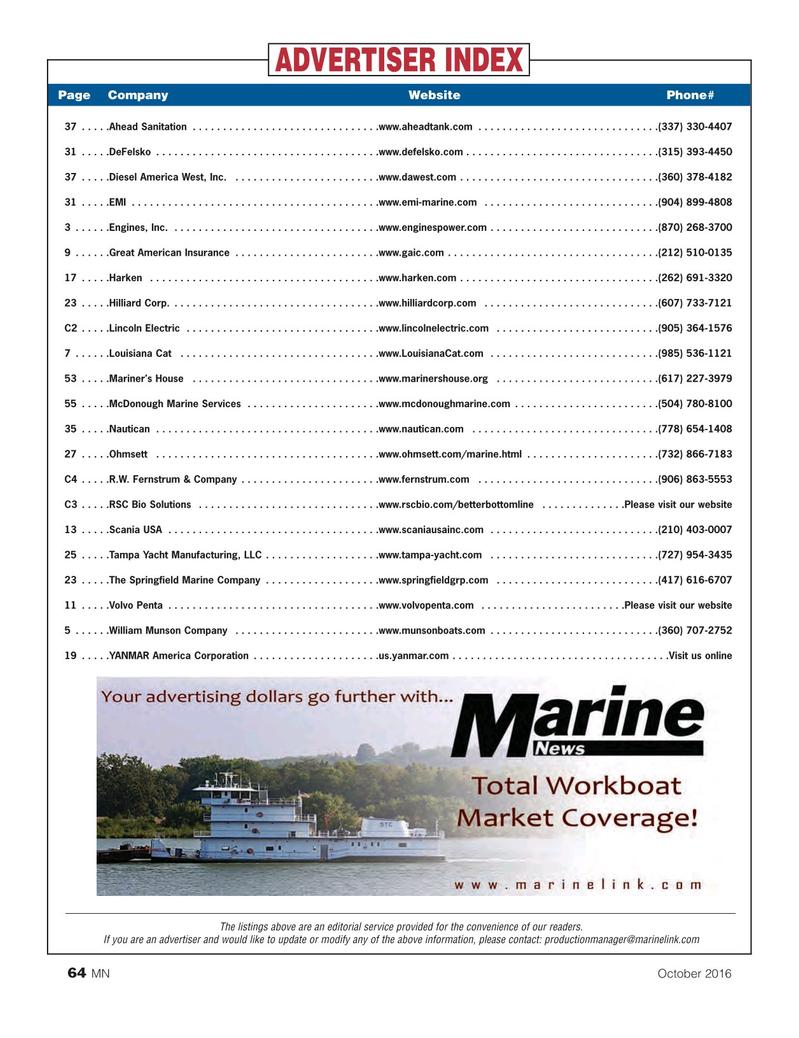 Marine News Magazine, page 64,  Oct 2016