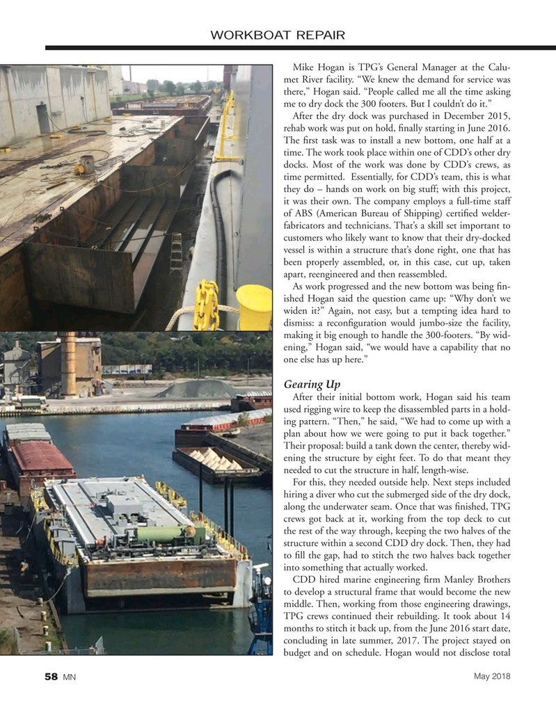 Marine News Magazine, page 58,  May 2018