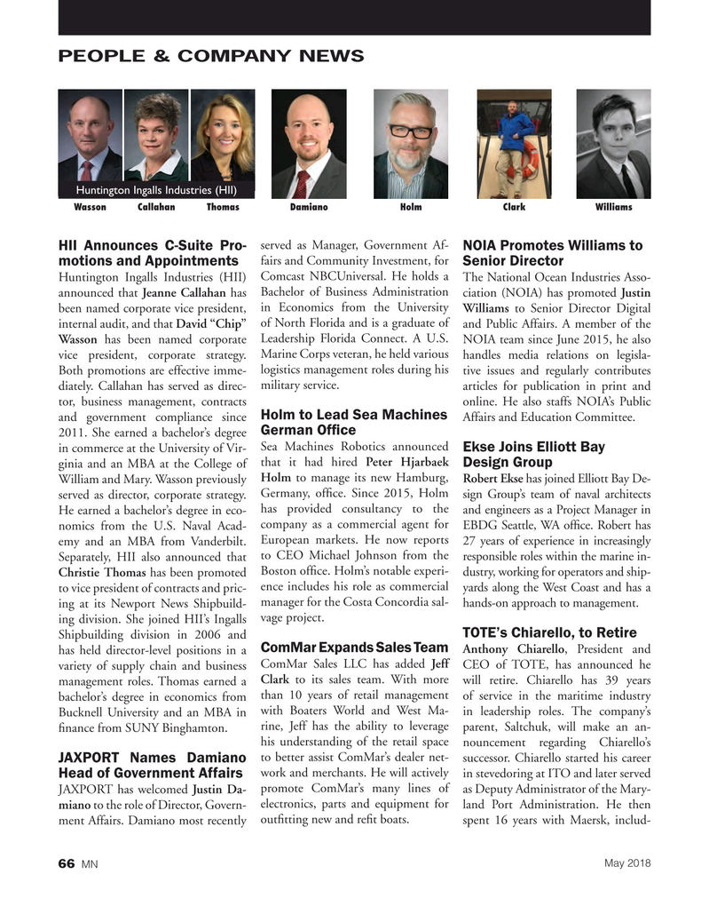 Marine News Magazine, page 66,  May 2018