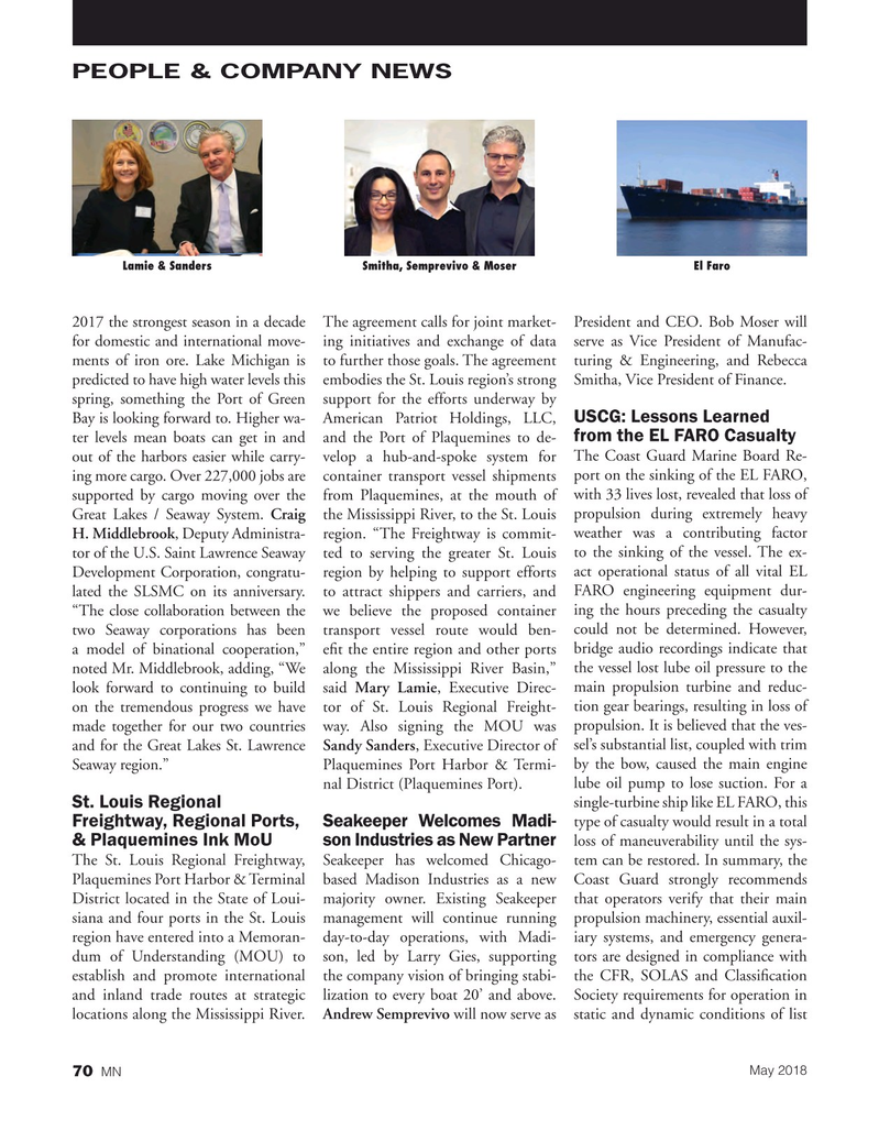 Marine News Magazine, page 70,  May 2018