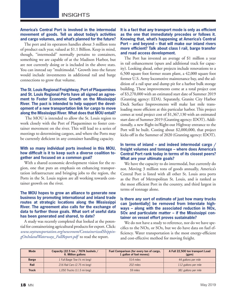 Marine News Magazine, page 18,  May 2019