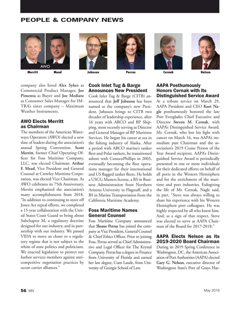 Marine News Magazine, page 56,  May 2019